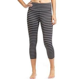 Athleta Grey & Black Striped Chaturanga Legings
